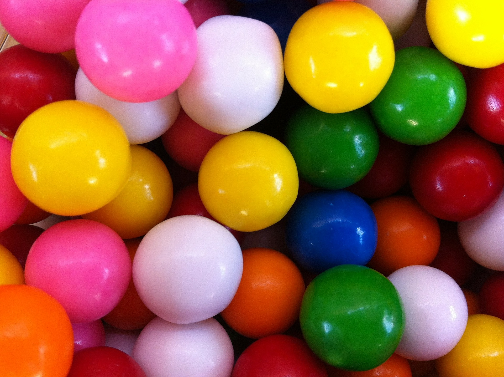 close-up of a pile of gum balls